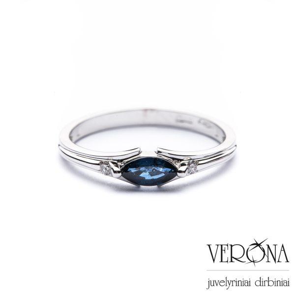 Sužadėtuvių žiedas su briliantu ir safyru 274084