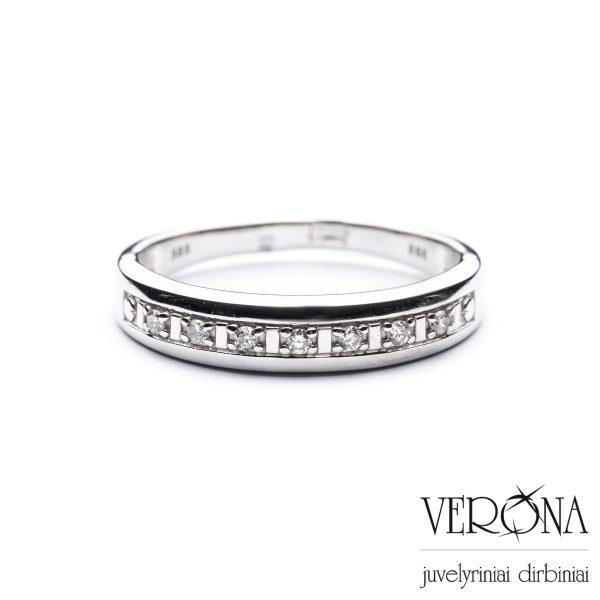 Balto aukso žiedas su briliantais 275518