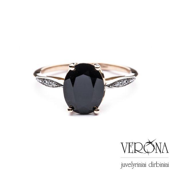Auksiniai žiedai su deimantais ir agato akmeniu 275499