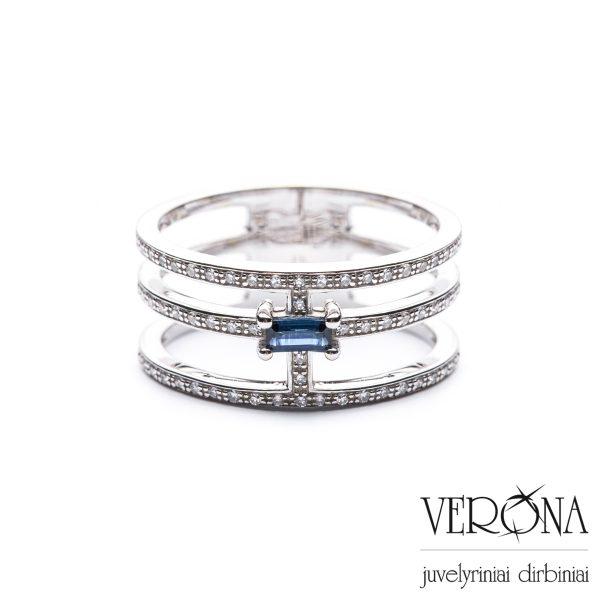 Balto aukso žiedas su deimantais ir safyru 275504